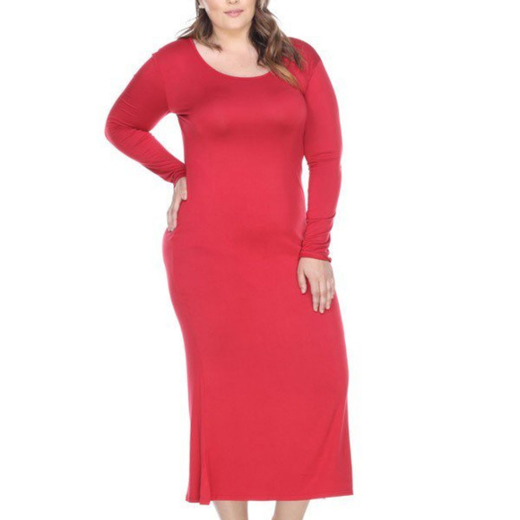 Red Scoop Neck Plus Size Dress PS831 L B NWT